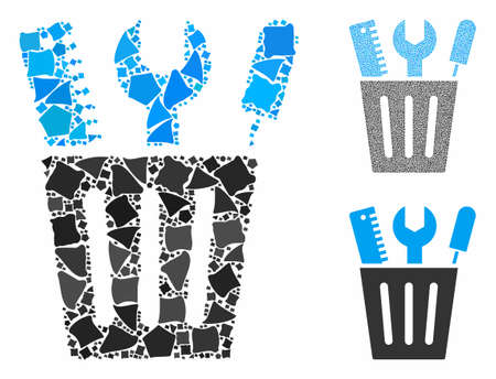 Tools bucket composition of bumpy parts in different sizes and color tones, based on tools bucket icon. Vector abrupt parts are organized into composition. Ilustrace
