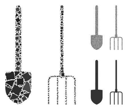 Pitchfork and shovel tools mosaic of rugged elements in variable sizes and color tints, based on pitchfork and shovel tools icon. Vector rugged dots are grouped into collage.