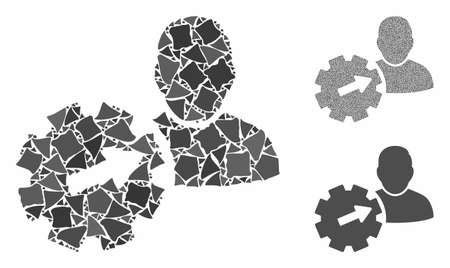 User integration API gear mosaic of bumpy parts in various sizes and color hues, based on user integration API gear icon. Vector unequal parts are grouped into collage.