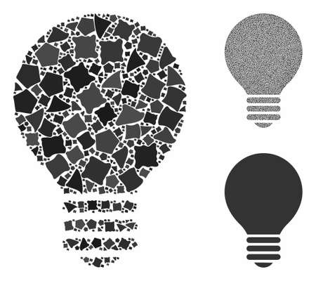 Electric bulb composition of tuberous pieces in various sizes and color tinges, based on electric bulb icon. Vector humpy pieces are composed into composition. Ilustração