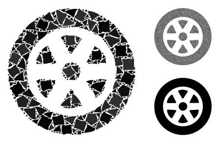 Car wheel mosaic of irregular pieces in different sizes and color tinges, based on car wheel icon. Vector irregular items are grouped into collage. Car wheel icons collage with dotted pattern.