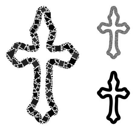 Christian cross mosaic of unequal parts in different sizes and color tones, based on christian cross icon. Vector abrupt parts are organized into mosaic.