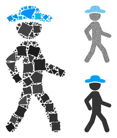 Walking gentleman mosaic of abrupt items in variable sizes and color tinges, based on walking gentleman icon. Vector abrupt items are composed into composition.