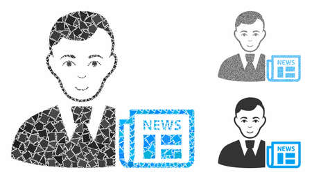 Businessman news composition of bumpy elements in different sizes and color tones, based on businessman news icon. Vector ragged elements are organized into composition.