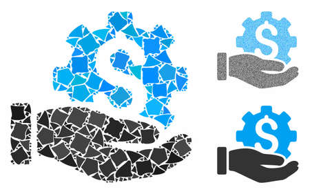 Payment service hand composition of tremulant pieces in different sizes and color hues, based on payment service hand icon. Vector joggly dots are grouped into composition.