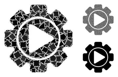 Automation mosaic of bumpy elements in different sizes and color tinges, based on automation icon. Vector tremulant elements are organized into mosaic. Automation icons collage with dotted pattern.