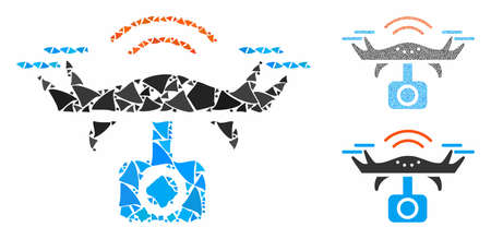 Spy drone mosaic of irregular elements in different sizes and shades, based on spy drone icon. Vector ragged elements are composed into mosaic. Spy drone icons collage with dotted pattern.