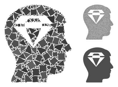Human head with diamond composition of tremulant pieces in different sizes and color hues, based on human head with diamond icon. Vector tremulant elements are grouped into composition.