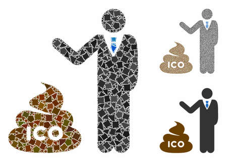 Businessman show ICO shit mosaic of rough elements in different sizes and color tints, based on businessman show ICO shit icon. Vector uneven elements are combined into collage. Иллюстрация