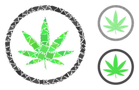 Cannabis mosaic of rugged pieces in different sizes and shades, based on cannabis icon. Vector rugged elements are organized into mosaic. Cannabis icons collage with dotted pattern.