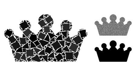Crown composition of ragged pieces in different sizes and color hues, based on crown icon. Vector rugged pieces are composed into collage. Crown icons collage with dotted pattern.
