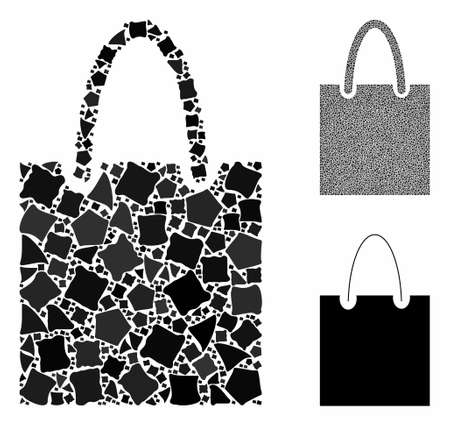 Shopping bag composition of uneven pieces in various sizes and color hues, based on shopping bag icon. Vector tremulant pieces are united into collage. Shopping bag icons collage with dotted pattern.