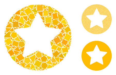 Rounded star mosaic of uneven parts in different sizes and color tints, based on rounded star icon. Vector unequal parts are composed into mosaic. Rounded star icons collage with dotted pattern.