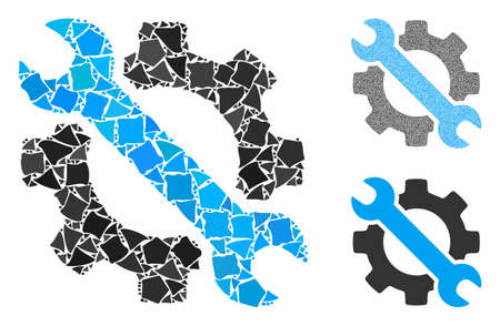 Wrench and gear setup tools mosaic of unequal parts in various sizes and color hues, based on wrench and gear setup tools icon. Vector unequal elements are grouped into collage.