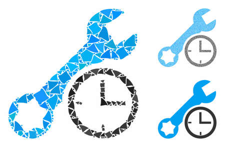 Service time mosaic of uneven parts in different sizes and shades, based on service time icon. Vector uneven parts are combined into mosaic. Service time icons collage with dotted pattern.