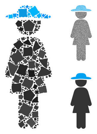 Standing lady composition of bumpy pieces in different sizes and color tints, based on standing lady icon. Vector joggly pieces are composed into composition.