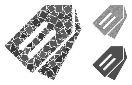 Tags mosaic of joggly items in variable sizes and shades, based on tags icon. Vector rugged items are united into mosaic. Tags icons collage with dotted pattern.