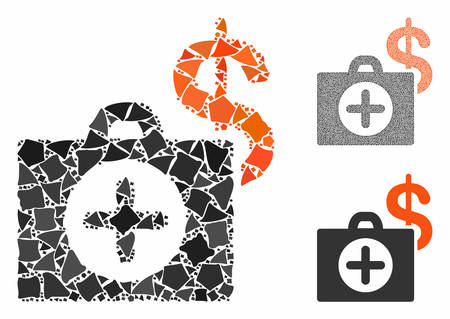 Payment healthcare composition of uneven items in different sizes and shades, based on payment healthcare icon. Vector trembly items are grouped into collage.