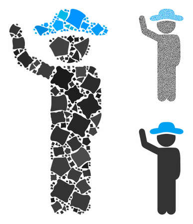 Gentleman hitchhike mosaic of irregular parts in variable sizes and color tones, based on gentleman hitchhike icon. Vector trembly parts are composed into mosaic.