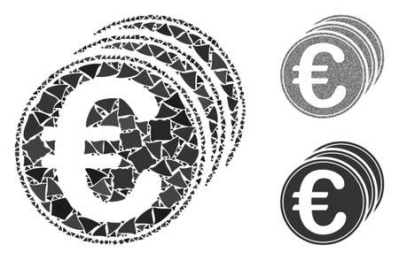 Euro coins mosaic of joggly parts in various sizes and color hues, based on Euro coins icon. Vector joggly parts are united into collage. Euro coins icons collage with dotted pattern.