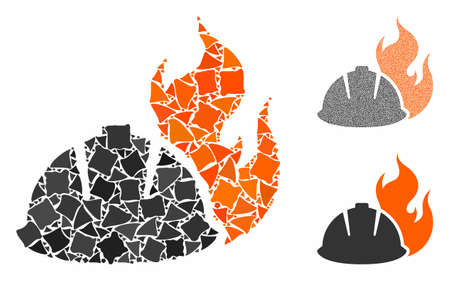 Fire protection helmet composition of trembly elements in various sizes and color hues, based on fire protection helmet icon. Vector trembly elements are combined into composition. Illustration
