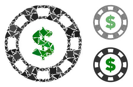Dollar casino chip composition of humpy elements in various sizes and color tinges, based on dollar casino chip icon. Vector raggy elements are united into composition.