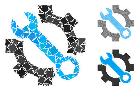 Service tools mosaic of rugged parts in various sizes and color tinges, based on service tools icon. Vector bumpy parts are grouped into collage. Service tools icons collage with dotted pattern.