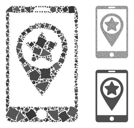 Smartphone map pointer mosaic of joggly elements in various sizes and color hues, based on smartphone map pointer icon. Vector joggly dots are composed into mosaic.