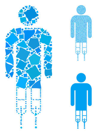 Man crutches composition of raggy items in different sizes and color hues, based on man crutches icon. Vector unequal items are organized into collage. Man crutches icons collage with dotted pattern. Ilustrace