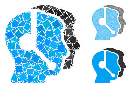 Call center operators composition of uneven parts in variable sizes and shades, based on call center operators icon. Vector uneven items are grouped into composition.