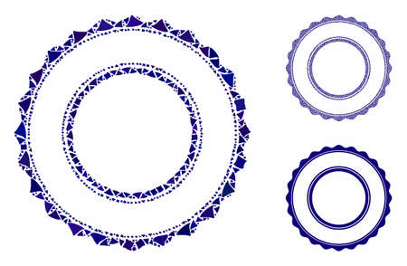 Double rosette circular frame composition of tuberous elements in different sizes and color tinges, based on double rosette circular frame icon. Vector rugged elements are grouped into composition. Çizim