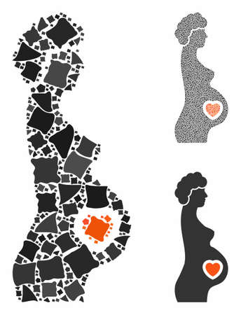 Pregnant female composition of bumpy items in different sizes and color tints, based on pregnant female icon. Vector rough elements are united into collage.