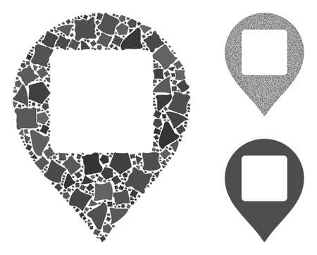 Square hole map marker composition of raggy pieces in different sizes and color tints, based on square hole map marker icon. Vector unequal pieces are composed into composition. Ilustração