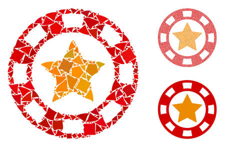 Star casino chip mosaic of inequal pieces in different sizes and color tinges, based on star casino chip icon. Vector uneven pieces are composed into collage. 向量圖像