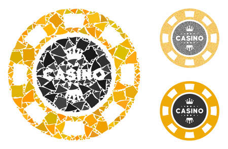 Royal casino chip composition of unequal elements in various sizes and color tints, based on royal casino chip icon. Vector unequal parts are combined into composition. 向量圖像