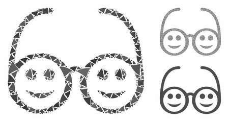 Happy spectacles composition of inequal elements in variable sizes and color hues, based on happy spectacles icon. Vector rugged elements are grouped into collage.