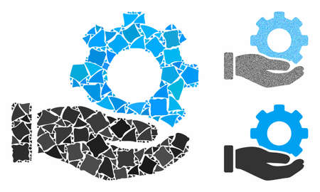 Mechanic gear service hand mosaic of trembly pieces in variable sizes and shades, based on mechanic gear service hand icon. Vector trembly pieces are composed into collage.