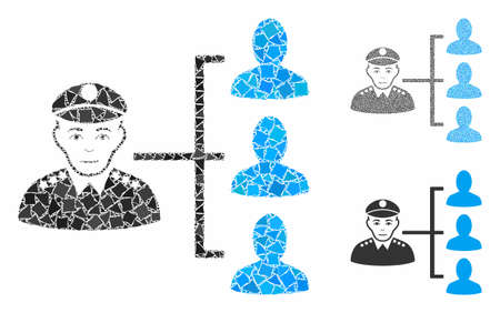 Officer subordinates composition of rugged parts in various sizes and color tinges, based on officer subordinates icon. Vector ragged parts are composed into collage.