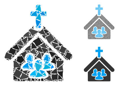 Church people composition of irregular elements in different sizes and color tinges, based on church people icon. Vector rough elements are united into collage.