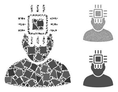 Neuro interface mosaic of irregular parts in variable sizes and color tones, based on neuro interface icon. Vector tuberous parts are grouped into collage.