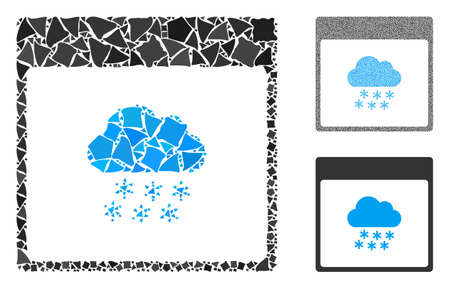Snow cloud calendar page mosaic of abrupt parts in variable sizes and color tinges, based on snow cloud calendar page icon. Vector trembly pieces are composed into mosaic.