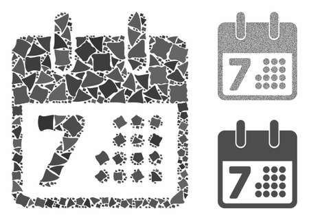 Calendar mosaic of rugged pieces in different sizes and color tones, based on calendar icon. Vector rugged elements are grouped into mosaic. Calendar icons collage with dotted pattern.