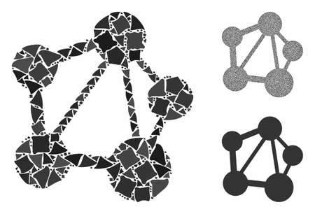 Network mosaic of abrupt parts in various sizes and shades, based on network icon. Vector unequal parts are grouped into collage. Network icons collage with dotted pattern. Ilustrace