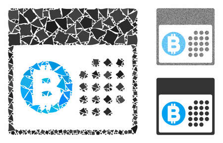 Bitcoin table composition of rugged pieces in different sizes and color tones, based on Bitcoin table icon. Vector trembly pieces are composed into collage.