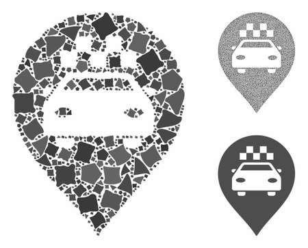 Taxi car marker composition of irregular pieces in different sizes and color hues, based on taxi car marker icon. Vector irregular pieces are combined into collage.