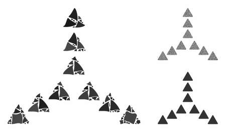Outside direction triangles composition of ragged items in variable sizes and shades, based on outside direction triangles icon. Vector tuberous items are grouped into collage.