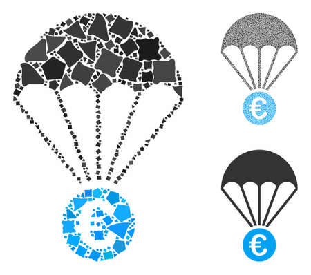 Euro parachute composition of raggy pieces in variable sizes and shades, based on Euro parachute icon. Vector abrupt pieces are composed into composition.