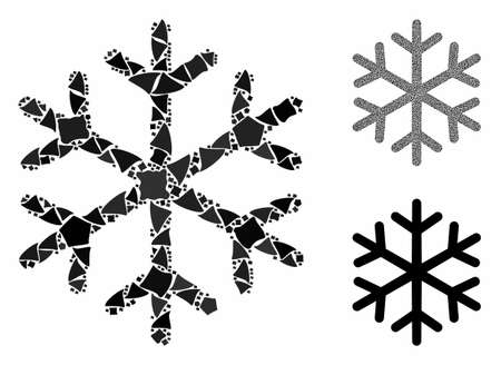 Snowflake mosaic of tremulant pieces in various sizes and color tinges, based on snowflake icon. Vector ragged pieces are grouped into mosaic. Snowflake icons collage with dotted pattern. Иллюстрация