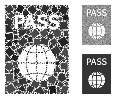 Passport composition of uneven parts in various sizes and color tinges, based on passport icon. Vector tremulant parts are united into composition. Passport icons collage with dotted pattern.