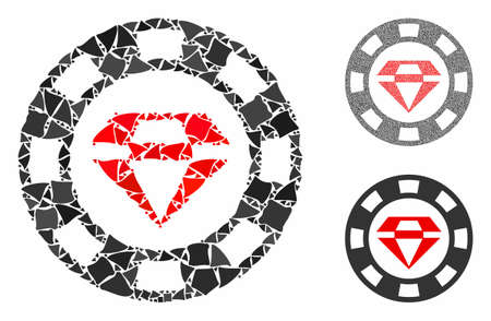 Ruby casino chip mosaic of abrupt pieces in variable sizes and color hues, based on ruby casino chip icon. Vector tremulant pieces are composed into mosaic. Ilustração